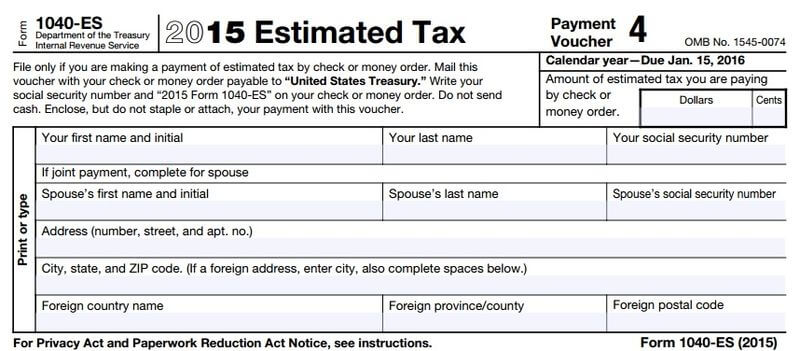 IRS Estimated Tax Payment Voucher