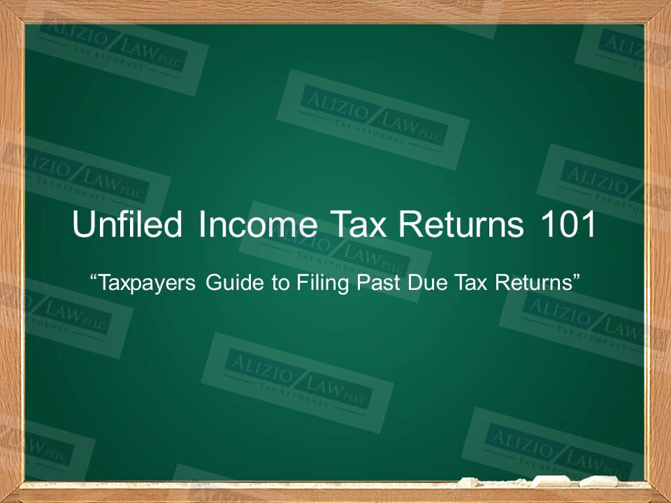 Unfiled Income Tax Returns written on chalk board